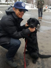 Daisy the arson-detection dog meets Ben Stiller on