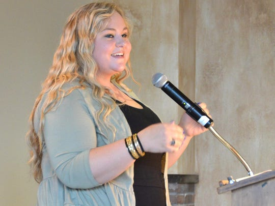 Meghan Moore receives the TST Career & Technical Education Student of the Year Award.