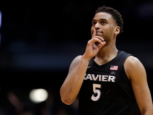 Butler guard Paul Jorgensen reacts after hitting a 3-point basket in the final minute of overtime against Butler in an NCAA college basketball game in Indianapolis, Tuesday, Feb. 6, 2018. Xavier defeated Butler 98-93. (AP Photo/Michael Conroy)