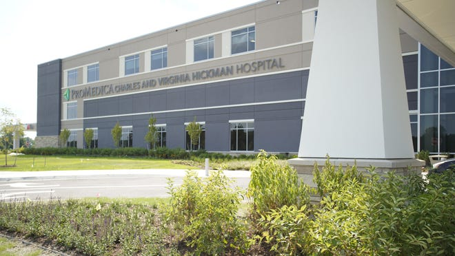 ProMedica Charles and Virginia Hickman Hospital is pictured. ProMedica on Friday announced that it is easing some visitor restrictions at its hospitals and outpatient surgery facilities in Ohio and Michigan.