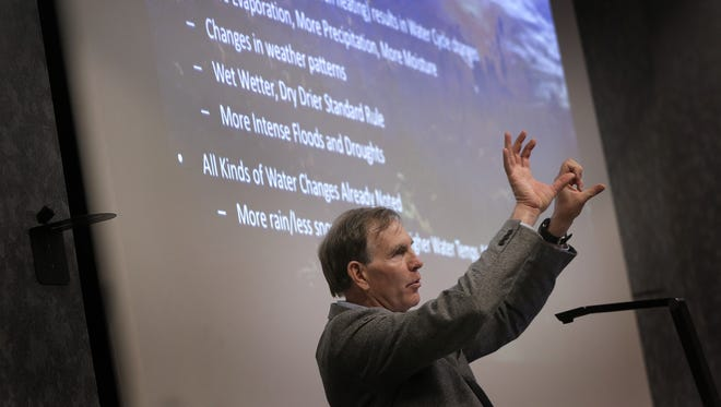 Colorado State University Senior Climate Research Scientist Brad Udall gives a lecture Tuesday at UTEP on climate change and water in the Southwest.