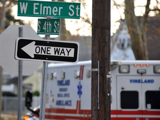 A Vineland ambulance leaves the scene of a stabbing