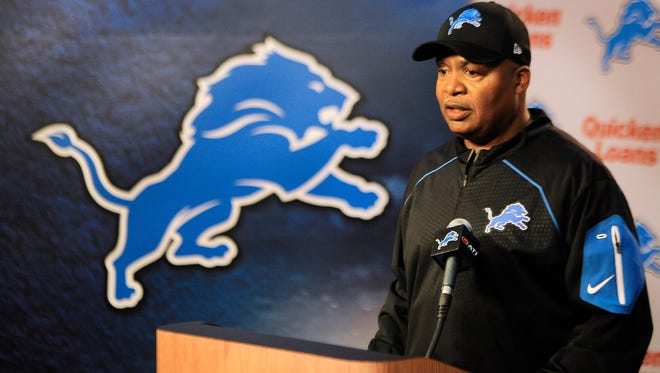 Detroit Lions head coach Jim Caldwell speaks with media during a press conference before the first day of rookie minicamp in Allen Park.