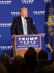 GOP presidential nominee Donald Trump addresses the