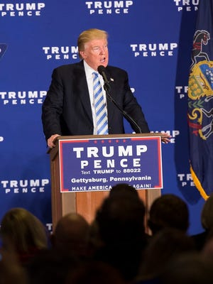 GOP presidential nominee Donald Trump addresses the crowd at Eisenhower Hotel in Gettysburg just after noon on Saturday, Oct. 22, 2016.