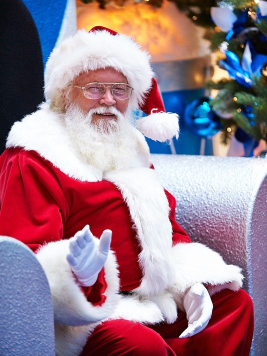 Santa at his chair in Lakeview Square Mall on Saturday.