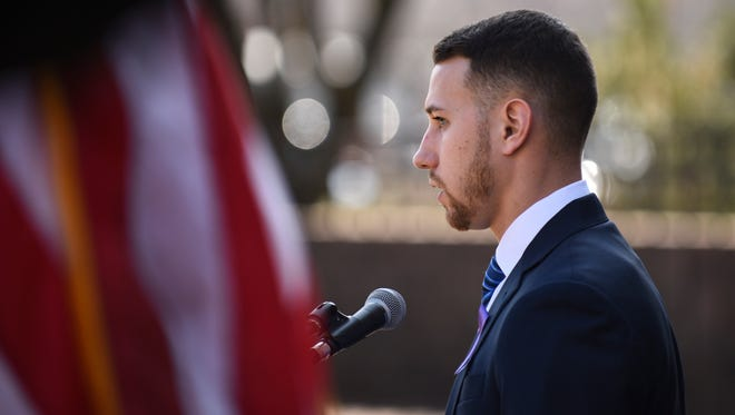 Justin Wroblewski, a former student athlete in recovery, shares his story as freeholders file a lawsuit to battle opioid epidemic naming manufacturers Wednesday, Feb. 21, 2018 at the Camden County Hall of Justice in Camden, N.J.