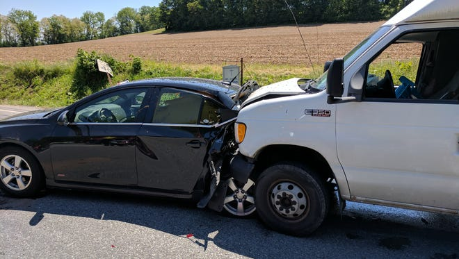 Police are searching for the driver of this truck, which they say caused a chain-reaction crash Wednesday. Photo courtesy Southwestern Regional Police.