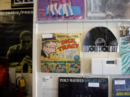 A sign advertising Record Store Day inside Inner Groove Records Tuesday, April 10, 2018 in Collingswood, N.J.