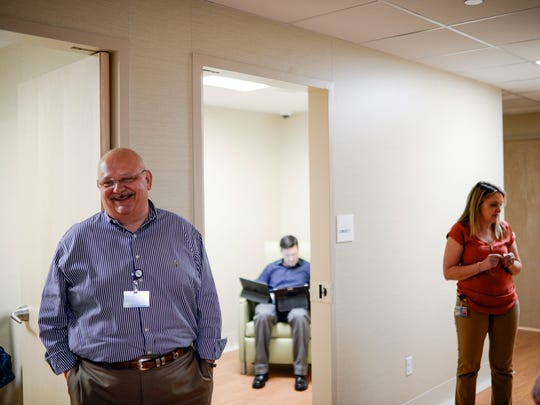 Harry Marmorstein, left, stands outside a consultation room in the new Behavioral Health Assessment and Treatment Center at Virtua Berlin. The center will offer outpatient services for people who voluntarily seek help for substance use disorder or other mental health concerns. Within a year, it expects to add medication-assisted treatment and a detox unit.