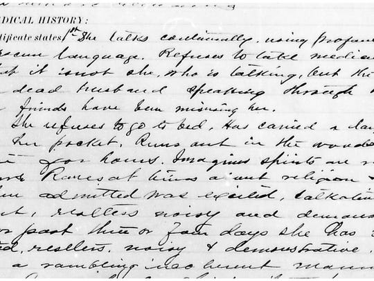 "Medical notes from the case of M.C. from the administrative records of the Vermont State Hospital. She was committed to the Vermont State Hospital in 1891 for continual talking and use of profane language. The medical notes state the patient ""declares that it is not she who is talking, but the spirit of her dead husband speaking through her."""