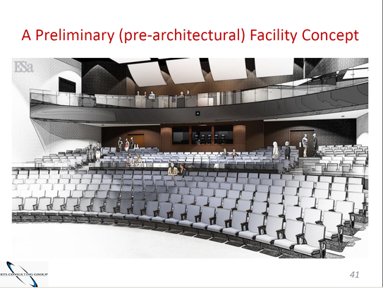 Interior pre-rendering view of performing arts center.