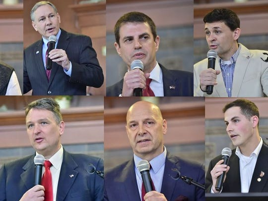 The candidates in the Republican primary for Pennsylvania's 13th District seat in the U.S. House of Representatives are, clockwise from top left, Art Halvorson, Sen. John Eichelberger, state Rep. Steve Bloom, Travis Schooley, Ben Hornberger, Col. Douglas Mastriano, Bernard Washabaugh III and Dr. John Joyce.