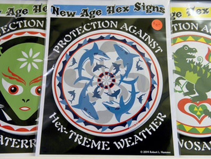 """""""These \""""New Age Hex Signs\"""" among the many items on"""