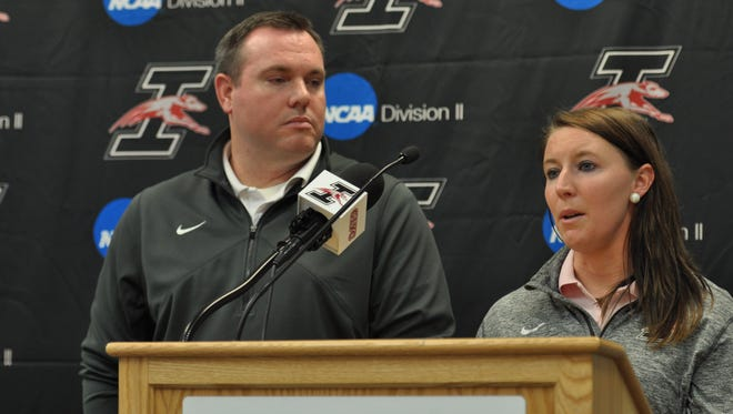New UIndy lacrosse coaches and recently married couple Greg Stocks and Jillian Howley address a crowd gathered about updates with the recruiting process.