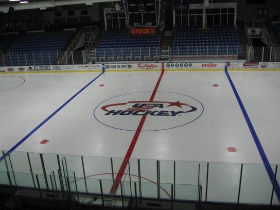 USA Hockey logo at center ice