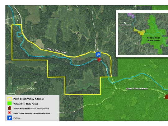 Paint Creek addition to the Yellow River State forest (bordered in yellow).