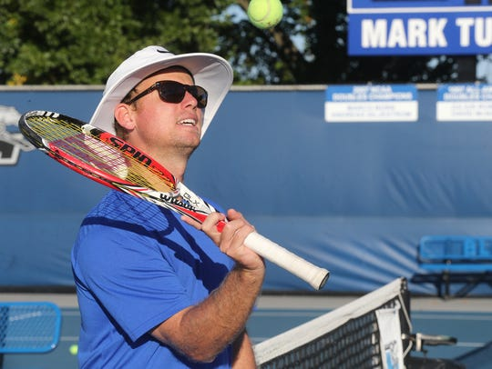 Former MTSU Head Women's Coach Charlie Ramsay on Tuesday, Sept. 22, 2015, during a free tennis camp led by MTSU tennis players and coaches.