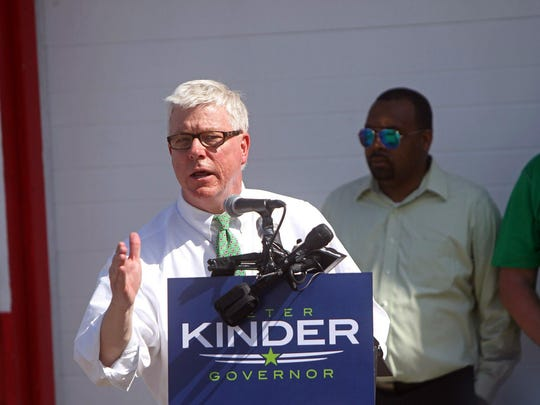 Lt. Gov. Peter Kinder announces his bid for governor in the parking lot of New York Grill Sunday, July 12, 2015, in St. Louis.