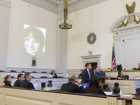 A photo of Shannon Jones was projected on the wall of a Tompkins County Courtroom Oct. 19 as county Deputy District Attorney Andrew Bonavia, standing, gave his closing statement.