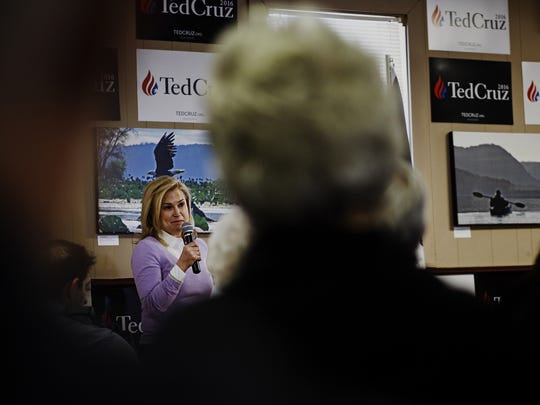Heidi Cruz, wife of Republican presidential candidate Ted Cruz, introduces her husband during a campaign stop at The Old Rossville store on Saturday, Jan. 09, 2016, in Waukon.