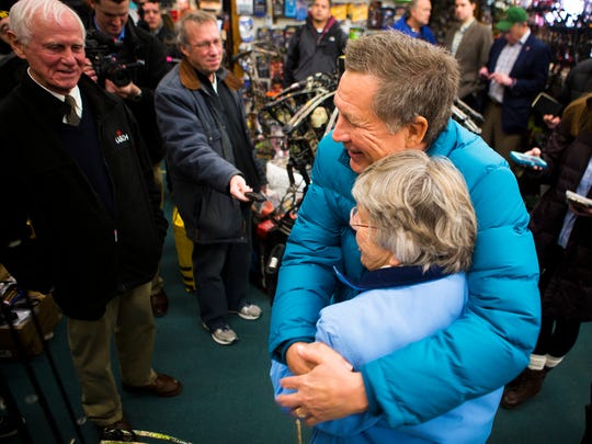 Ohio Governor John Kasich visits Walt Morse Sporting Good Store in Hillsboro, New Hampshire Tuesday, January 19, 2016.