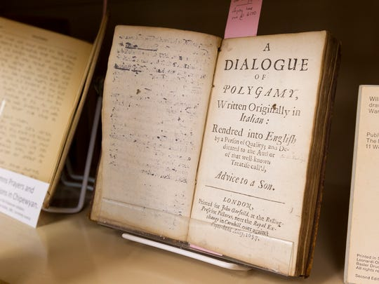 """A 1657 English translation of """"A Dialogue of Polygamy""""  by Bernardini Ochini, bound in calfskin, is offered for $2,000."""