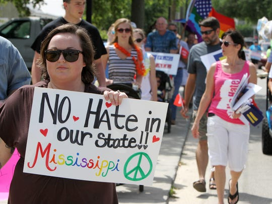 Demonstrators in Bay St. Louis protest against Mississippi's
