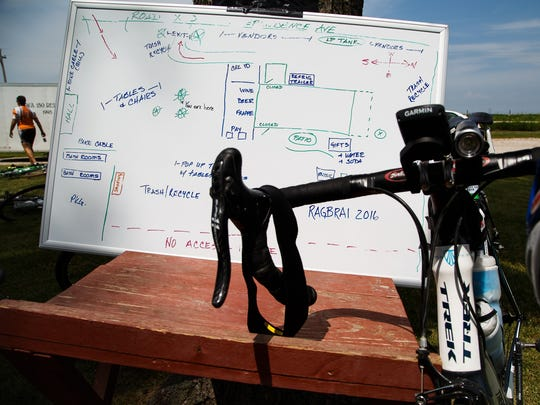 The tentative layout how Ardon Creek Vineyard & Winery will be laid out for RAGBRAI is seen as plans are discussed on Saturday, June 11, 2016 during preride.