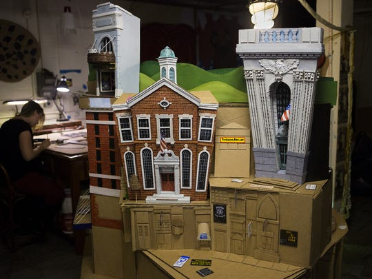 Artis David Lynch has tried to include York's history and present in the cardboard sculpture he's creating.