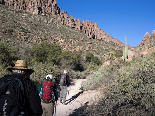 Hikers on the Peralta Trail in the Superstition Wilderness