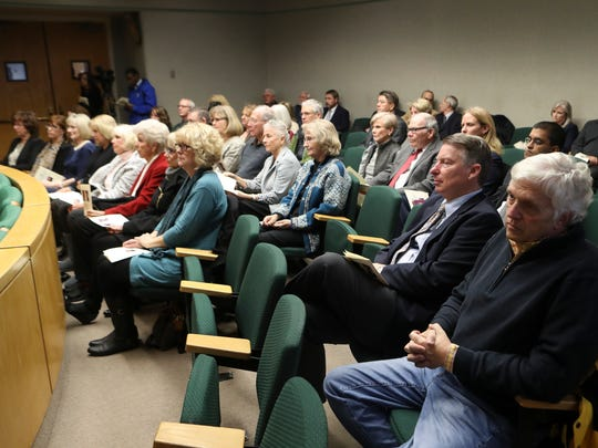 Community members, court personnel, friends, judges and family listen during a special session remembering former Judge Donald R. Kennedy on Friday at the Shasta County Courthouse.