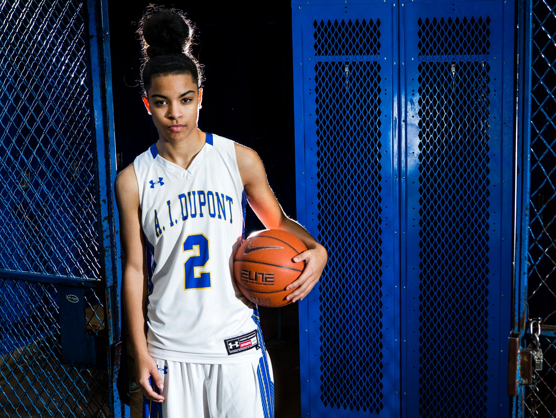 A.I. duPont's Lauryn Griffin poses for a portrait int the locker room at A.I. duPont High School in Greenville on Monday afternoon.