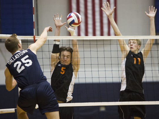 Dallastown's Avery Terroso, left, attempts to hit the ball past Central York defenders Drew Anderson, center, and Braden Richard last season. Terroso should be one of the players to watch on Dallastown's state-ranked team this year.