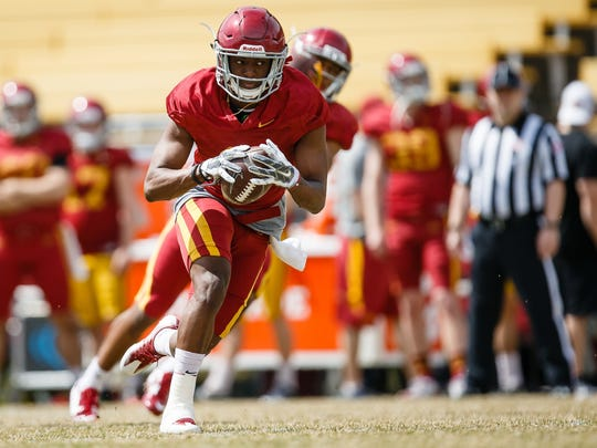 Iowa State sophomore wide reciever Deshaunte Jones (8) catches a pass during their spring game on Saturday, April 8, 2017, in Ames.