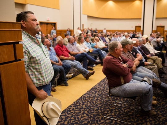 Texas farmers fill the C.J. Davidson Conference Center at Angelo State University to speak with U.S. Rep. Mike Conaway and other members of the House Committee on Agriculture about the 2018 farm bill on July 31, 2017.