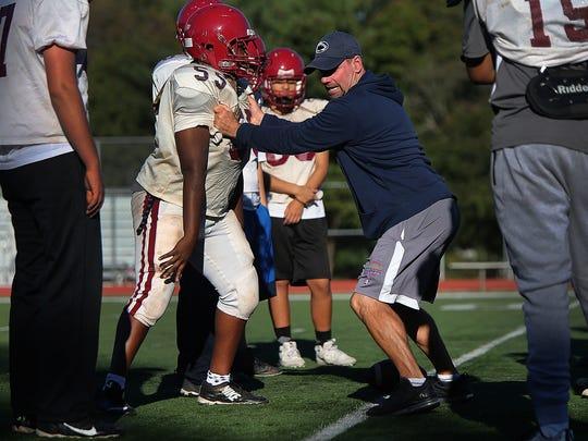 Highland Park head football coach Rich McGlynn at practice on Tuesday, Oct. 17, 2017.