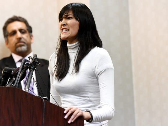 Akemi Look, formerly known as Taryn Look, articulates her anger while talking about Larry Nassar during a press conference on Wednesday, Jan. 24, 2018, at the Radisson in downtown Lansing. Look was on the U.S. national gymnastics team.