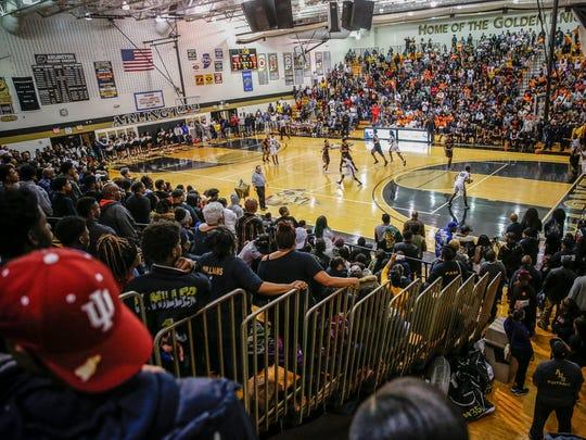 The Arlington Golden Knights play the Broad Ripple Rockets at Arlington High School on Friday, Feb. 9, 2018.