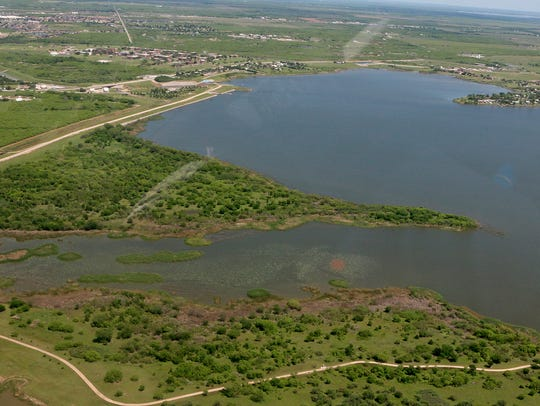 An aerial view of Lake Wichita facing the spillway