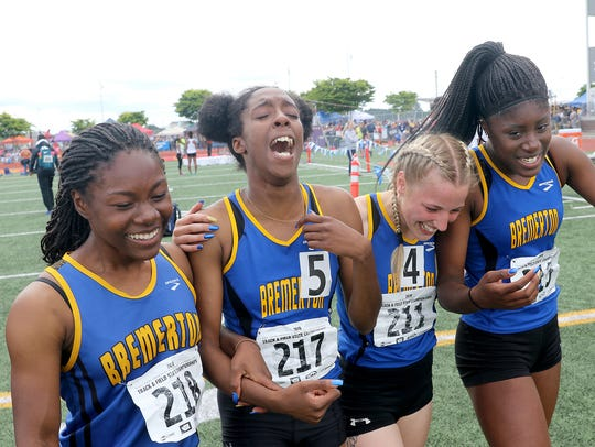 Bremerton's 4x100 girls relay team of (from left) T'caela Wilcher, Tyishea McWhorter, Lauryn Chandler and Nyaijah Johnson won a 2A title in May at the state track and field championships at Mount Tahoma High School.