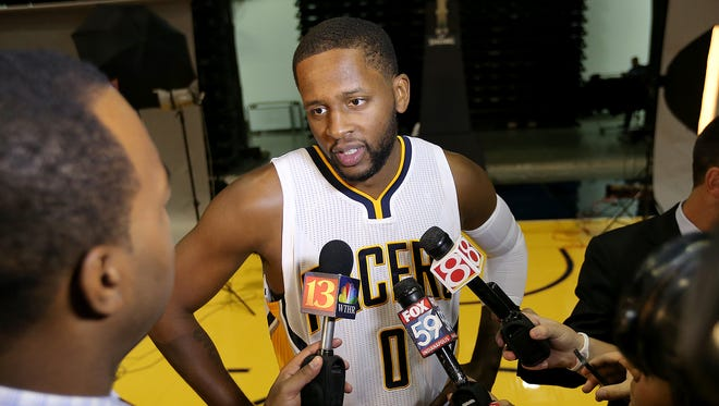 CJ Miles, talking on media day, is expected to be in the starting lineup for the Pacers' exhibition season opener Tuesday.