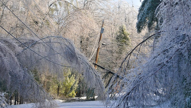 Trees frozen in ice cripple a section of power lines in Belgrade Dec. 24, 2013. From Michigan to Maine, hundreds of thousands lost power in a massive ice storm.