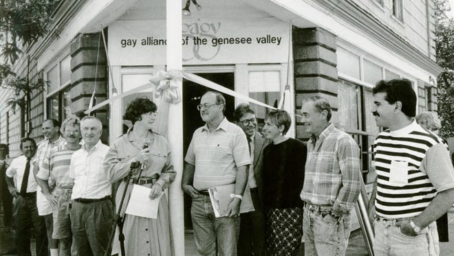 The opening of a new community center by The Gay Alliance of the Genesee Valley in June 1990. Provided by the Gay Alliance of Genesee Valley.