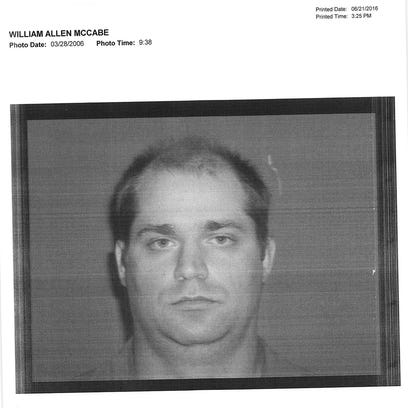 "Police mug shot of William ""Bill"" McCabe is serving"