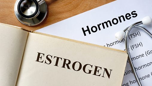 The main female sex hormones, estrogen and progesterone, are produced by a woman's ovaries, but they also produce male hormones including testosterone.