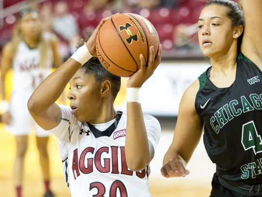 New Mexico State University's Gia Pack came on strong in the WAC Tournament, scoring a tournament record 86 points in three games and earning MVP honors.