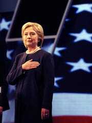 Democratic presidential candidate Hillary Clinton at