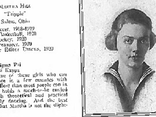 """A scan from """"The Discus"""" of 1920, the year Martha Hill"""