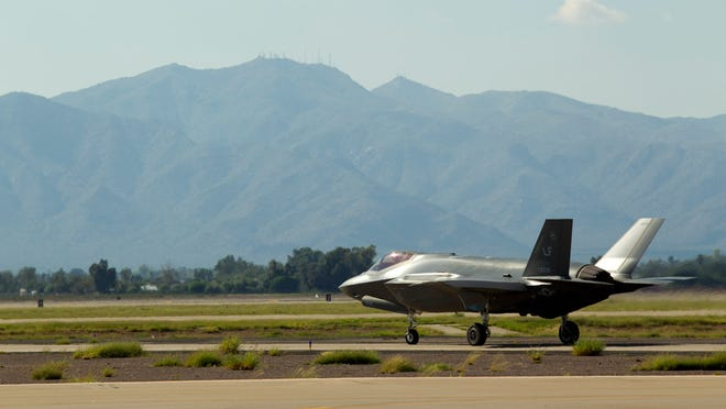 An F-35 prepares for take-off at Luke Air Force Base in Glendale on Thursday, October 9, 2014.